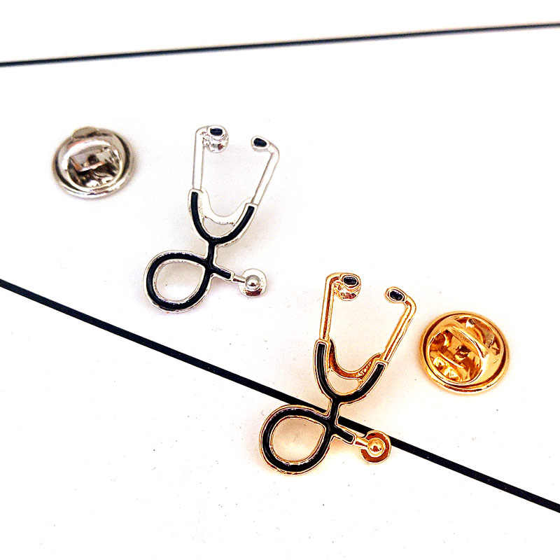 Nurse Jewelry  Doctor Gift Gold/Silver Stethoscope Brooch Pins   Jewelry  Cute Party Christmas Gifts Festival Alloy Metal