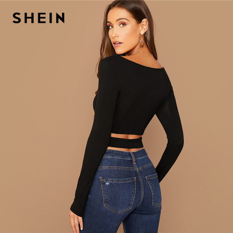 SHEIN Solid Cut Out Crisscross Front Crop Top T-Shirt Women Spring Autumn Scoop Neck Long Sleeve Sexy Stretchy Slim Fit Tshirts 2
