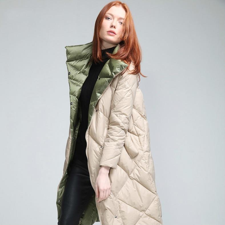 Women's Winter Down Jacket 2020 Long Puffer Coat Raccoon Fur Collar Duck Down Coats Veste Femme YL7292 KJ3740