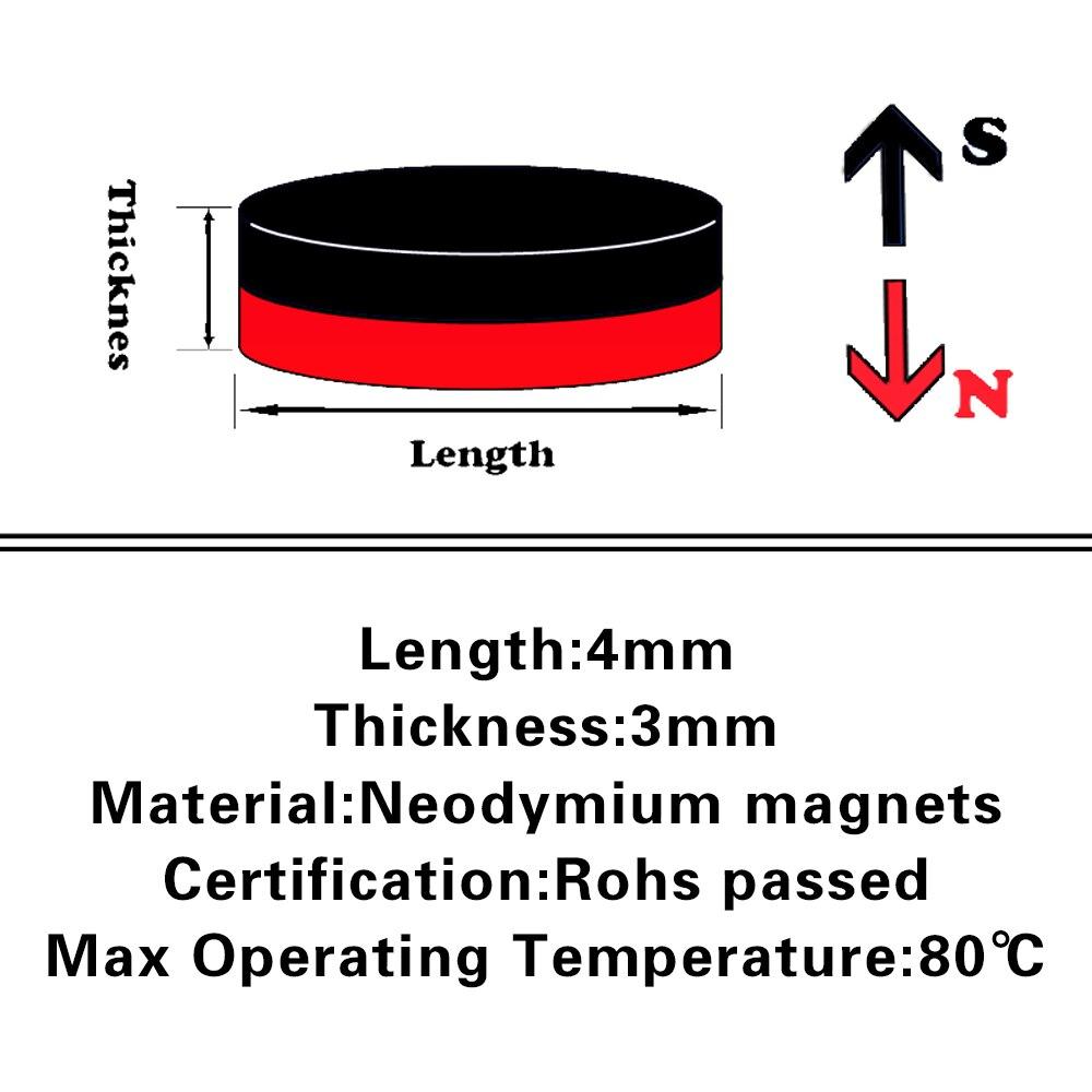 5000pcs Neodymium N35 Dia 4mm X 3mm Strong Magnets Tiny Disc NdFeB Rare Earth For Crafts Models Fridge Sticking magnet 4x3mm - 2