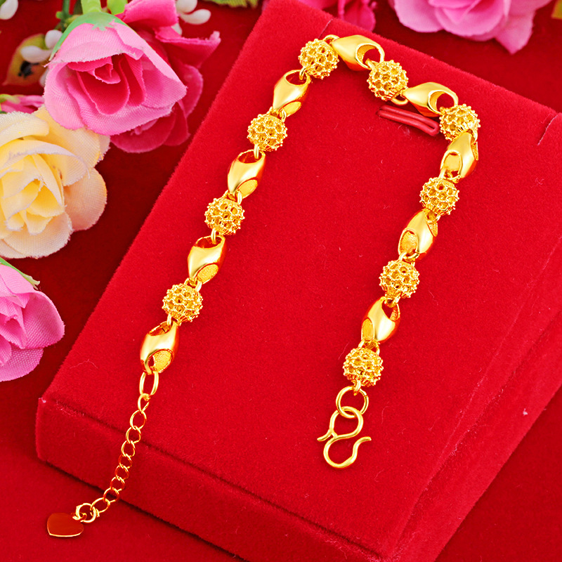 24K or Bijoux Bracelet pour femmes solide 24K Pulseira Feminina Argent Bijoux Bizuteria sable or femelle et homme Bracelets boîte