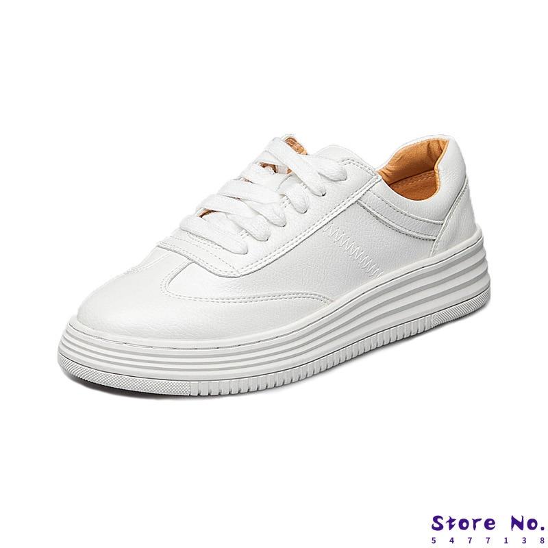 2019 zapatillas con plataforma de moda para mujer zapatos casuales con cordones transpirables para caminar zapatos de cuero genuino blanco plano chica 4