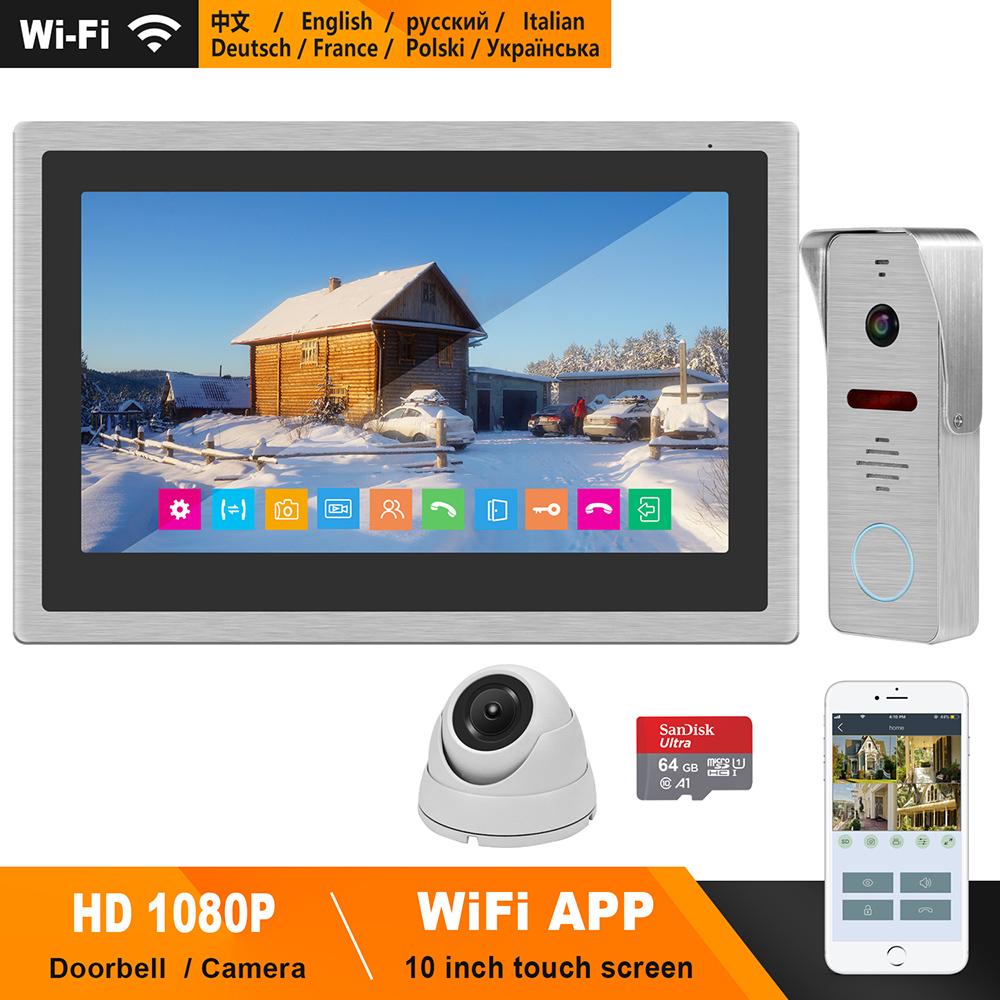 HomeFong WIFI Video Intercom System Wireless Video Door Phone 10 Inch Touch Screen Monitor Dome Camera HD1080P Doorbell Intercom