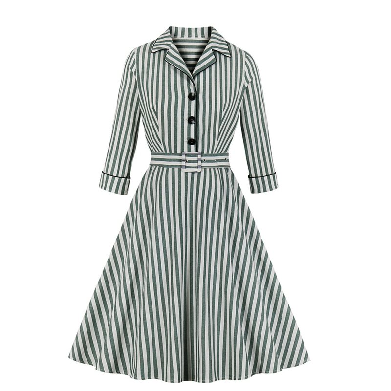 Retro Stripe Print Dress Summer Plus Size 4XL Half Sleeve Polo Neck Mid Waist A Line Casual Preppy Dress Belt Button Sundress