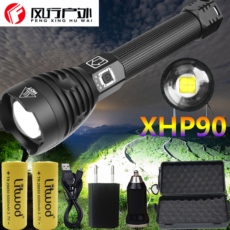 XHP90 Z901909 The Most Powerful Led Flashlight Power 26650 Or 18650 Battery & Xhp70.2 Tactical Flash Light Torch