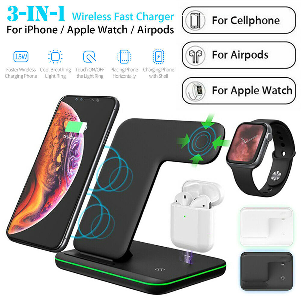 15W Qi Fast Wireless Charger 3 in 1 Wireless Charging Stand For Apple Watch AirPods Charging Station For iPhone 11 Pro X XS Max|Mobile Phone Chargers| |  - title=