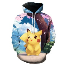ZOGAA Hot Sale 2019 Pokemon Cartoon Picachu 3D Printing Sleeve Men and Women Fashion Cute with Hats Protective Hoodies 4XL