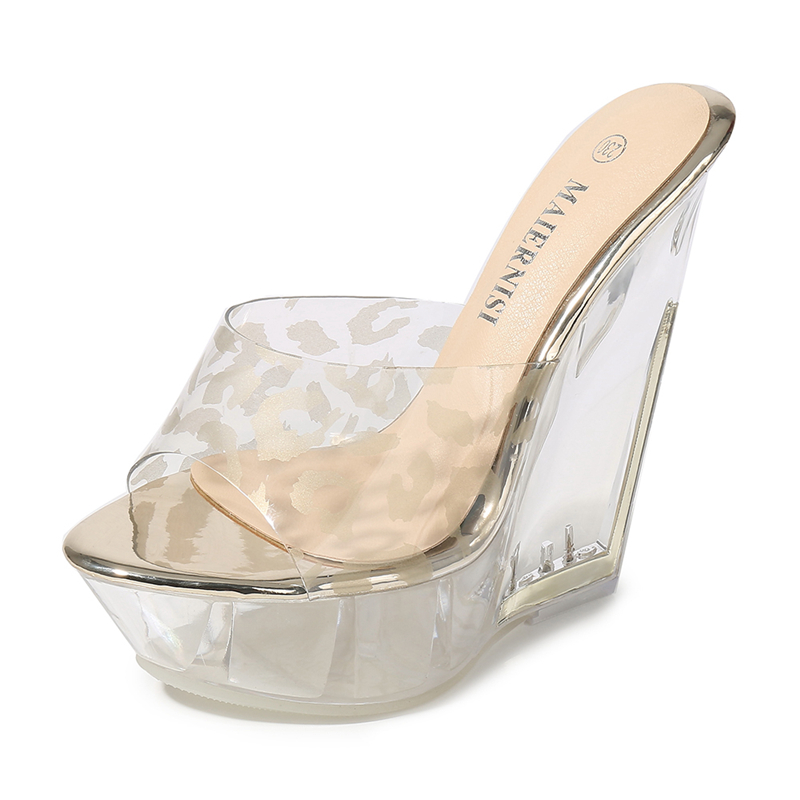 <font><b>Sexy</b></font> Summer Fashion <font><b>High</b></font> <font><b>Heels</b></font> <font><b>Sandals</b></font> Slippers Mules Transparent Crystal <font><b>Platform</b></font> Wedges Shoes Jelly Beach Shoes MS-B0069 image