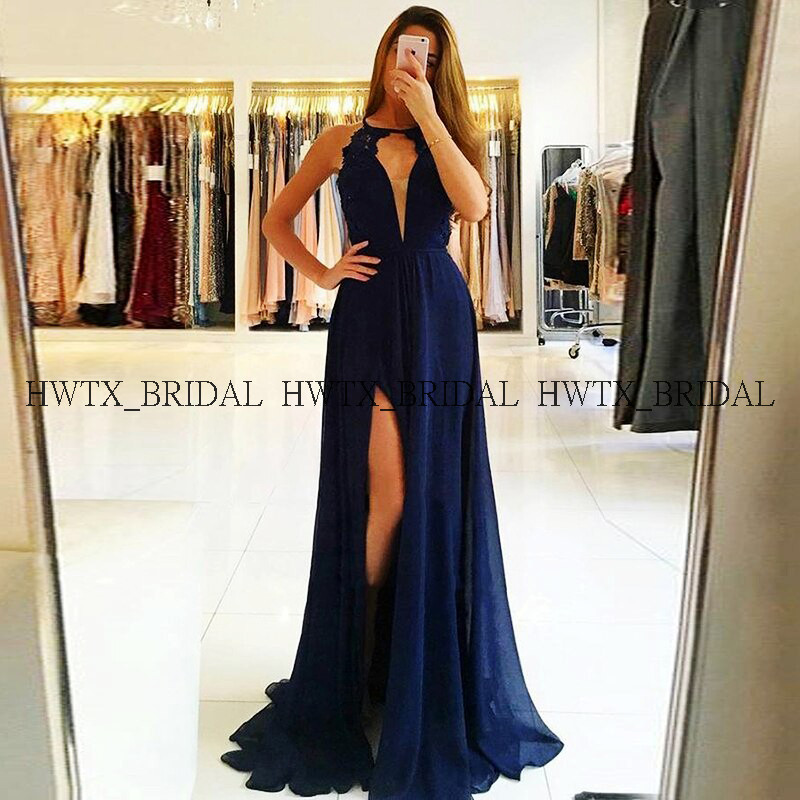 Royal Blue Chiffon   Prom     Dresses   2019 Flowing A-Line High Slits Sexy Backless Long   Prom     Dress   Women Formal Party Evening Gowns
