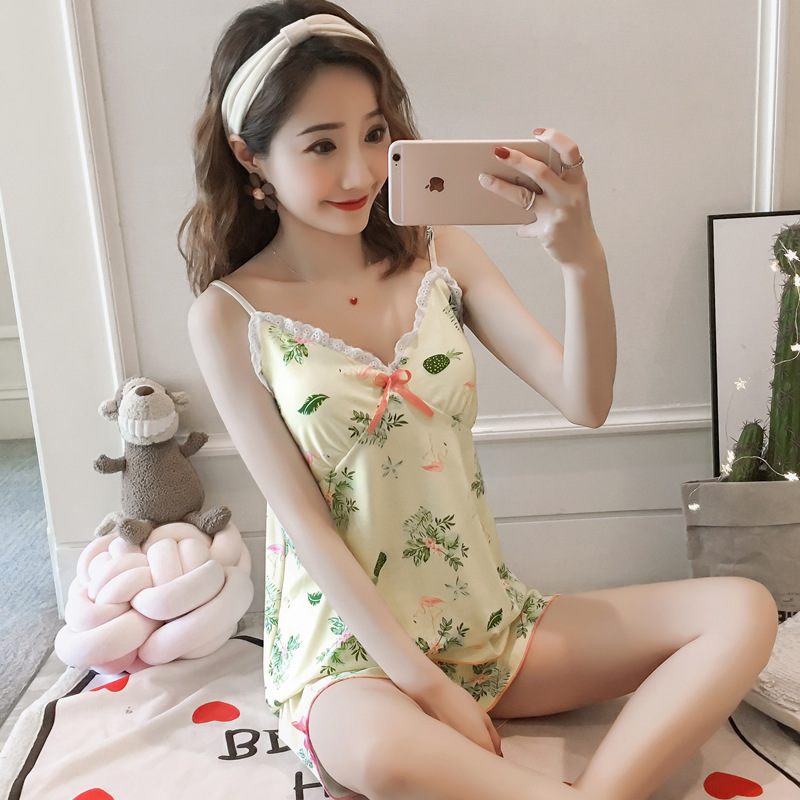 Pajamas Women's Summer Camisole Sweet Korean-style Students Cute Vest Shorts Set Tracksuit 180G + Chest Pad
