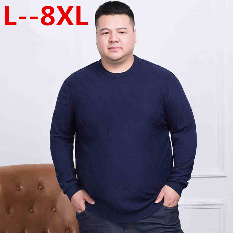 10XL 8XL 6XL 5XL Sweater Men  Spring New Pullover Loose Fit Thin Mens Knitted Sweaters Male Curl Hem High Quality Plus Size