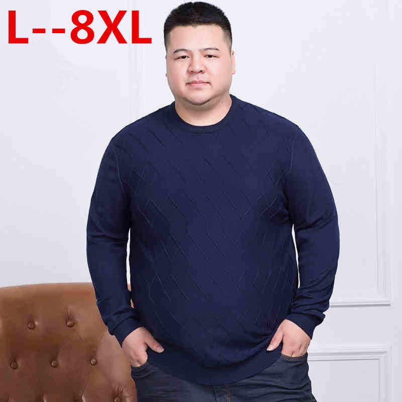 10XL 8XL 6XL 5XL セーター男性春の新プルオーバー薄型メンズニットセーター男性カール裾高品質プラスサイズ