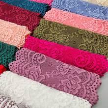 Cinta de encaje elástica ancha con patrón de flores, cinta de adorno de encaje, manualidades, bricolaje, 15CM de ancho, 1 yarda, nuevo