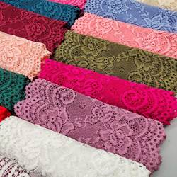 New 1Yard Flower Pattern 15CM Wide Elastic Lace Fabric Ribbon Lace Trim Ribbon Diy Craft Fabric Width African Fabrics Stretch