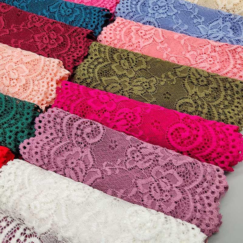 Ruban en dentelle élastique de 15CM de large, nouveau tissu africain extensible à motif de fleurs, 1 mètre de largeur, ruban dhabillage, Diy bricolage