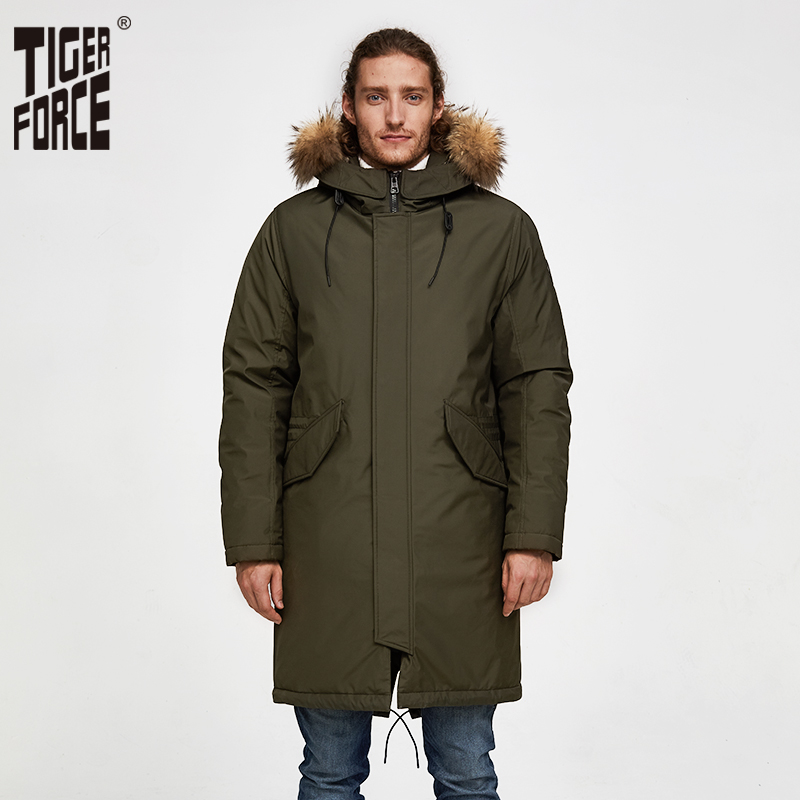 Tiger Force Oversize Men Winter Parkas Business Casual Men Medium-long Overcoat Men's Hooded Thick  Coat Big Pocket Male Jacket