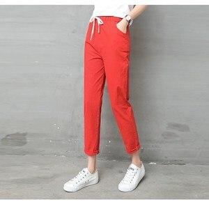 Image 3 - Pantalon en lin pour Femme, sarouel, taille moyenne élastique, mode, noir, Pantalon crayon, de bureau, collection 2019