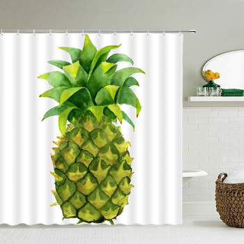 Fresh Fruit Pineapple Shower Curtain 3D Bath Screen Waterproof Fabric Bathroom Decor Large 240X180 With Hook Shower Curtains image