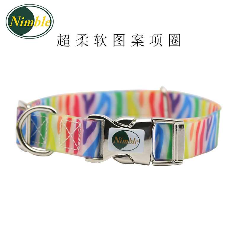 PVC Waterproof Dirt Pet Collar Zinc Alloy Pattern Dog Adjustable Collar Collar