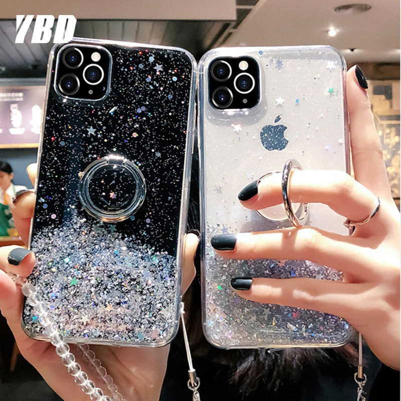 Crystal Lanyard Bling Ring Case For Xiaomi Redmi Note 7 8 Pro 8T 9S Coque Cover For Redmi K20 Pro K30 Case