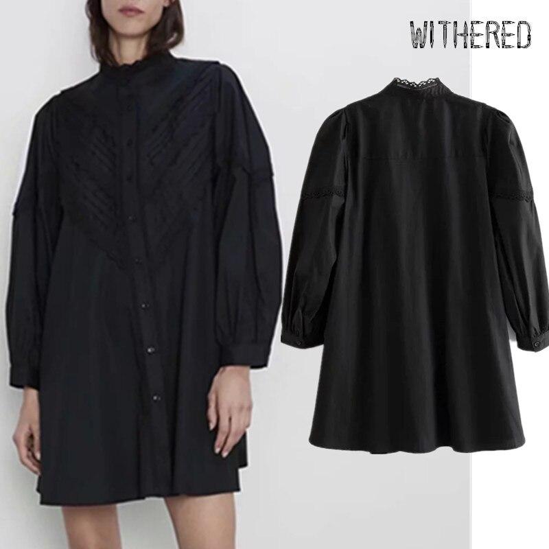 Withered 2019 Dress Women England Vintage Lace Stitching Loose Long Shirt Vestidos De Fiesta De Noche Vestidos Mini Dress Blazer