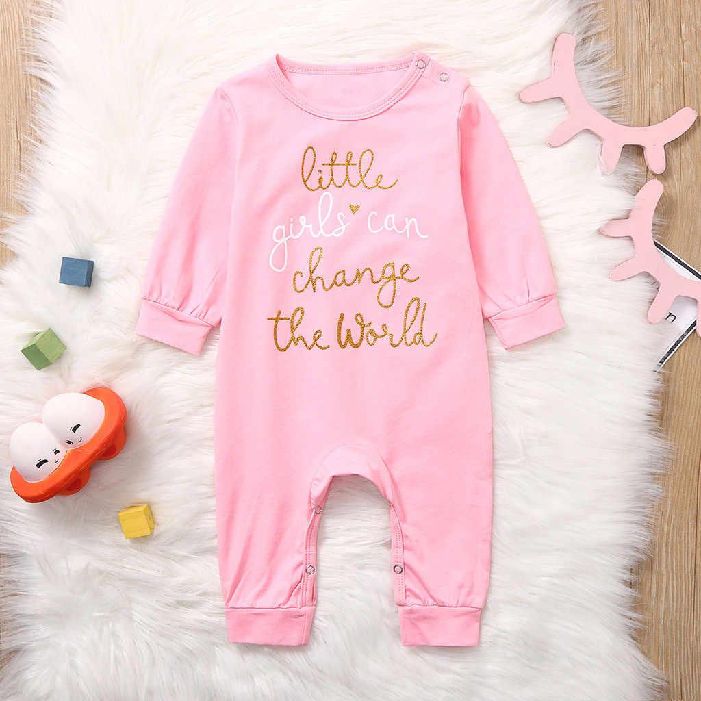 Зимние комбинезоны для маленьких девочек; хлопковый комбинезон с длинными рукавами и буквенным принтом для новорожденных; одежда для маленьких девочек; повседневная домашняя пижама; комбинезон