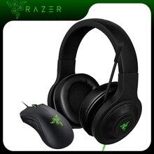 Razer kraken headset e mouse do modelo essential, fone de ouvido com microfone deathadder, 6400dpi, mouse para jogos, para pc/notebook/celular gamer jogador