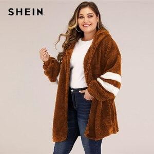 Image 4 - SHEIN artı boyutu Varsity çizgili kapşonlu oyuncak ceket kadınlar sonbahar kış rahat artı Colorblock flanel dış giyim uzun palto