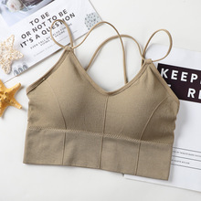 Women Crop Top Seamless Underwear Female Crop Tops Sexy Lingerie Cross Strap Push Up Tank Top Padded Camisole