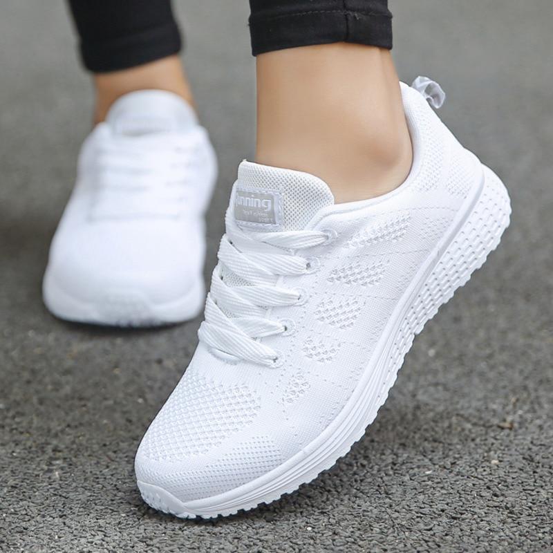 Mode Tenis Feminino Femme A Lacets Blanc Chaussures De Sport