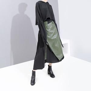 Image 2 - חדש 2020 קוריאני סגנון חורף אישה מזדמן ארוך קפלים חצאית גבוהה מותן עור מפוצל ירוק שחור טלאים גבירותיי המפלגה חצאית 5695