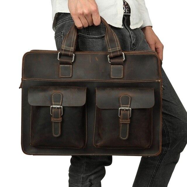 Joyir 2020 dos homens do vintage vaca maleta de couro genuíno saco do mensageiro de couro cavalo louco masculino bolsa para portátil de negócios