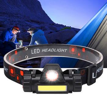 Przenośna Mini latarka latarnia Q5 + COB lampa czołowa led + 1 * wbudowany 18650 akumulator zewnętrzny reflektor kempingowy tanie i dobre opinie LELITEN CN (pochodzenie) Żarówki led Wysokie niskie Q5+COB Reflektory 60 ° LITHIUM ION