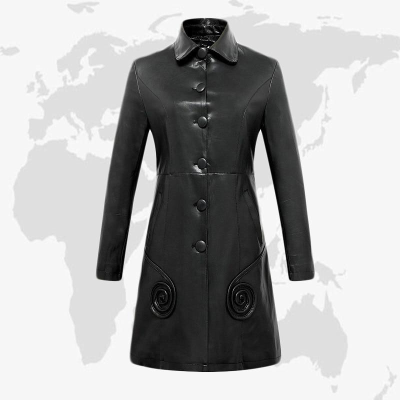 China Haining leather dress women's new Korean version of OL style commuting and slim fit large medium length women's coat