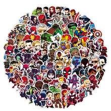 Autocollants imperméables de dessin animé Marvel, 100 pièces, Stickers Cool The Avengers, pour bagages, Skateboard, guitare, ordinateur portable, jouets pour enfants