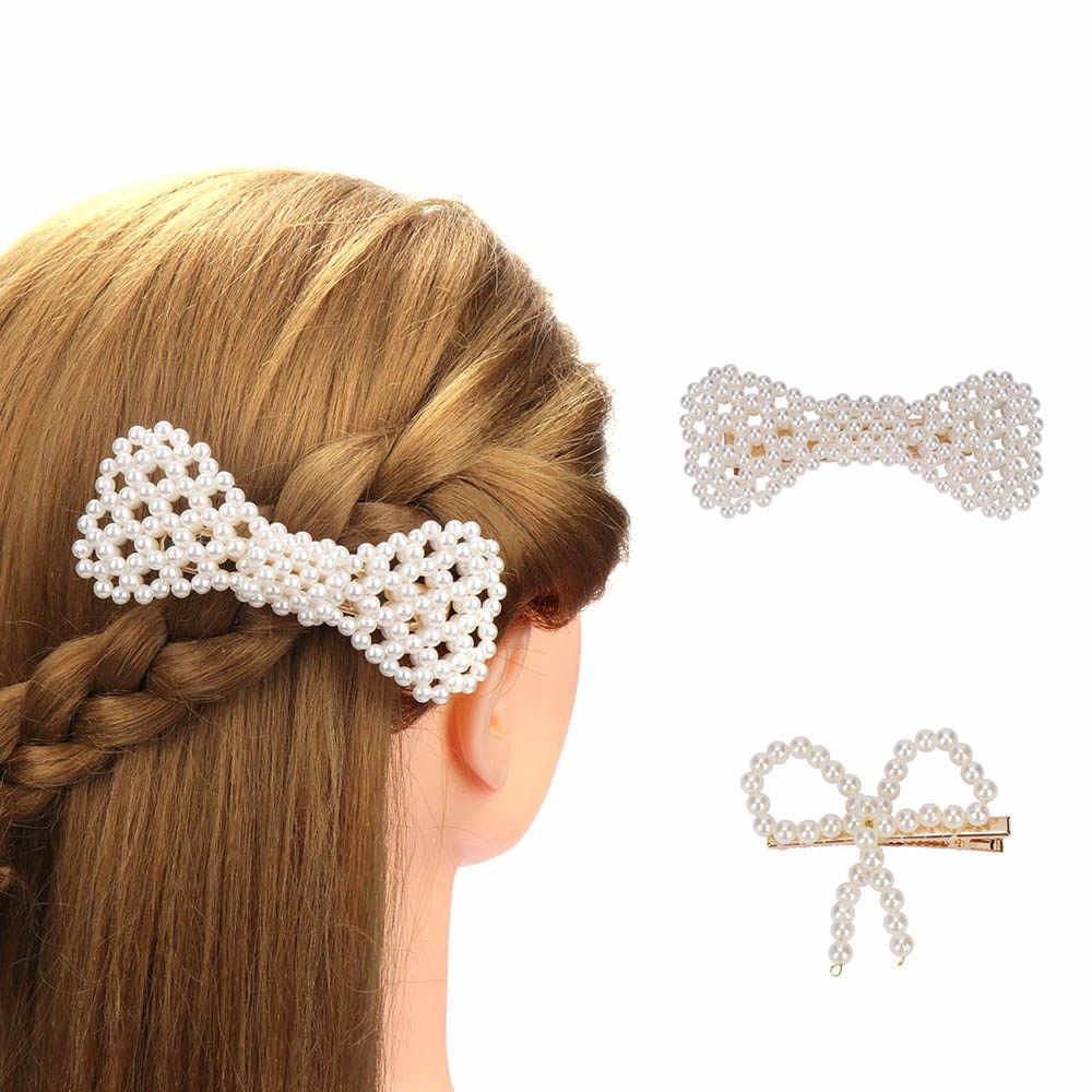 Koreański styl sztuczna Peruka perłowa klip eleganckie ręcznie BB korzystając z łączy z boku klip dla kobiet dziewczyny słodkie Bowknot spinka do włosów akcesoria do włosów