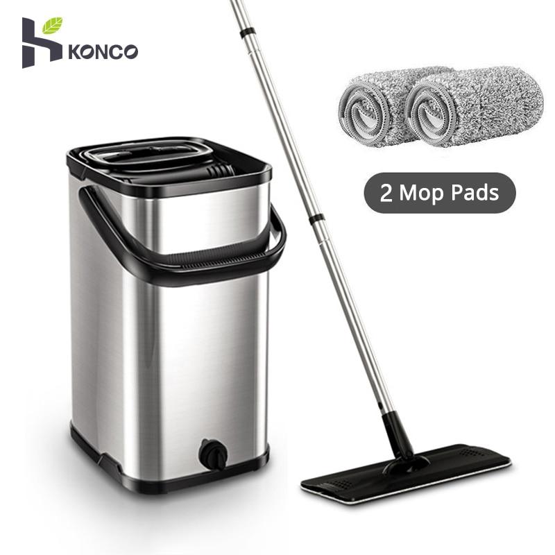 Konco Cestino di Metallo di Tipo Scorrevole Mop strumento di pulizia pulito Pulitore del Pavimento Mop Piatto 360 rotante set microfibra mop Secchio con 2 tappeti