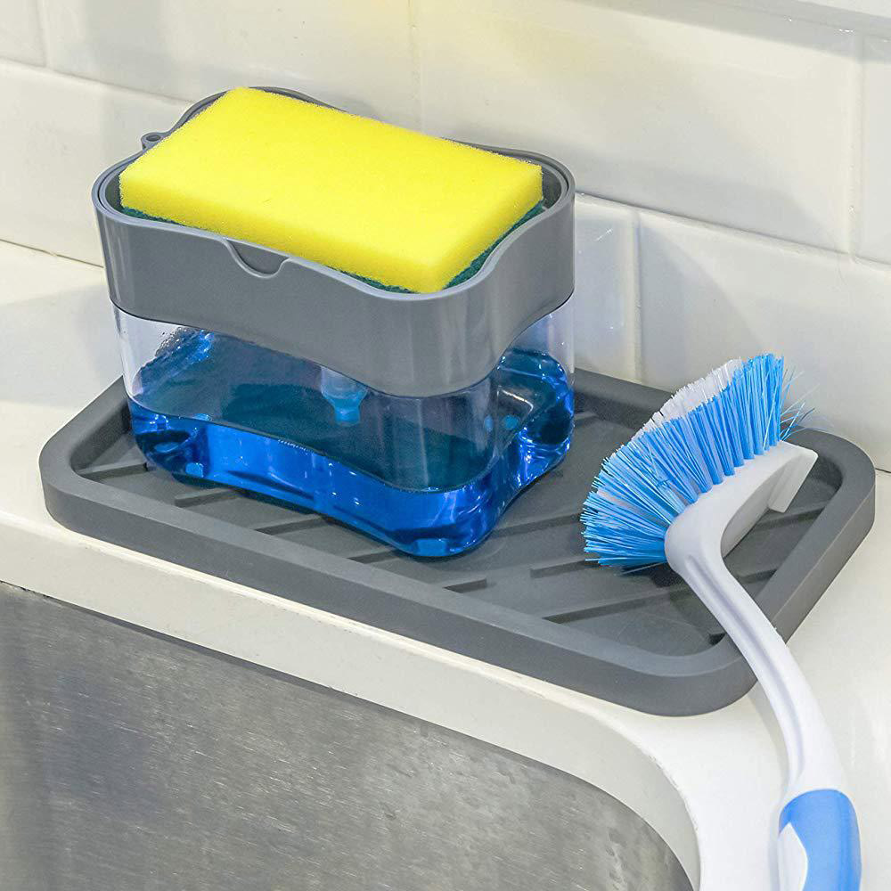 Plastic Kitchen Sink Storage Box Tray Sponge Soap Dispenser And Sponge Set Manual Soap Dispenser Kitchen Organizer