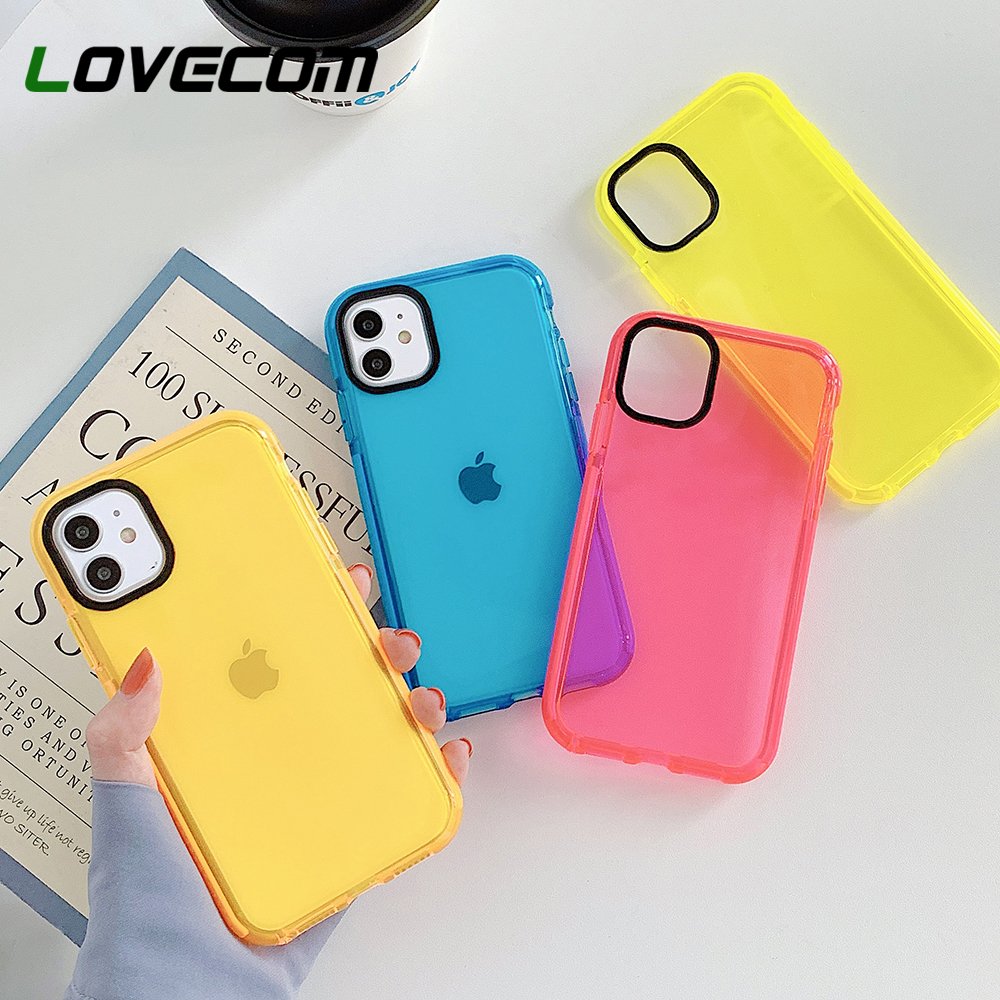 Fluorescent Shockproof Phone Case For iPhone 11 Pro Max XR X XS Max 7 8 Plus Clear Case Soft TPU Camera Protection Phone Cover
