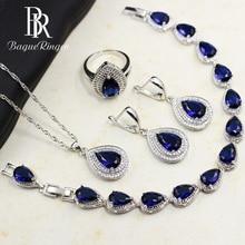 باجو رينغن أطقم مجوهرات فضية 925 على شكل قطرة ماء من الياقوت الأزرق للنساء أقراط بحلقة من الأحجار الكريمة أقراط على شكل قلادة وسوار زفاف
