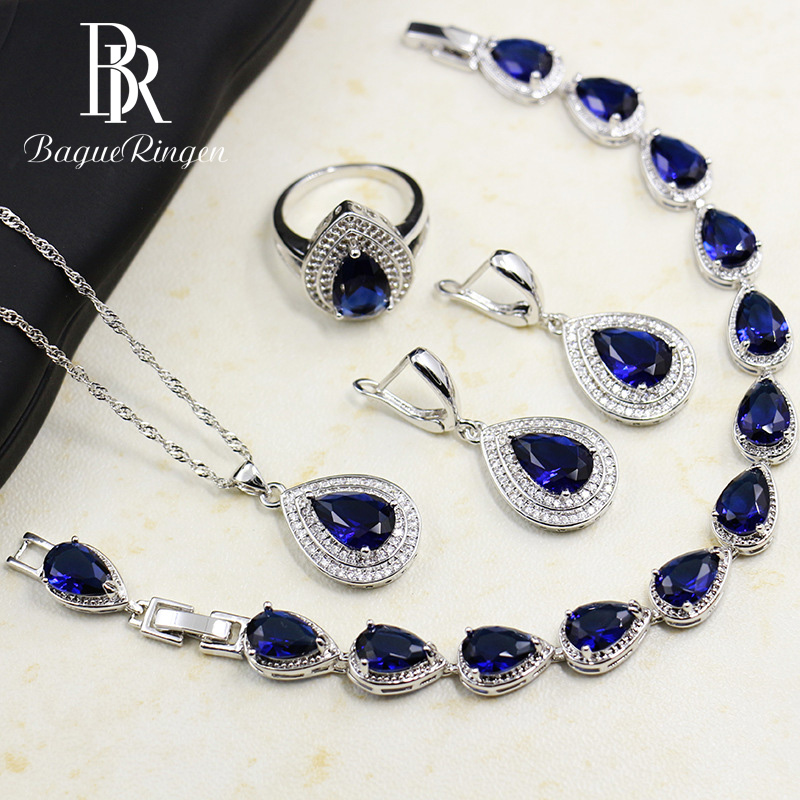 Bague Ringen Water Drop Shaped Sapphire Silver 925 Jewelry Sets for Women Blue Gemstones Ring Earrings Necklace Bracelet Wedding