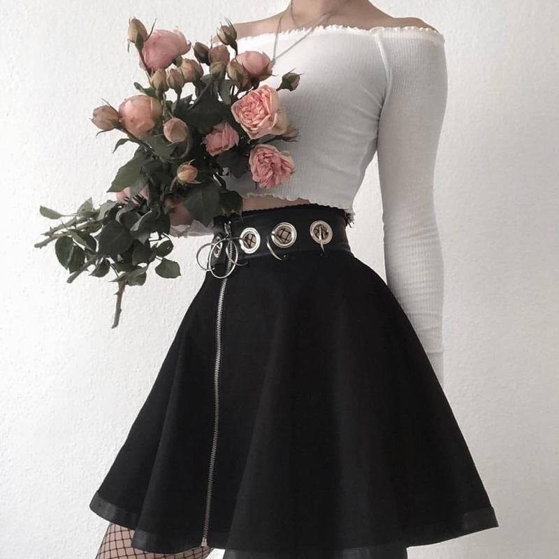 InstaHot Gothic Punk Zip Up Black Skirts Women Autumn Ring High Waist Pleated Winter Mini Skirt Female Bottom Sexy Christmas