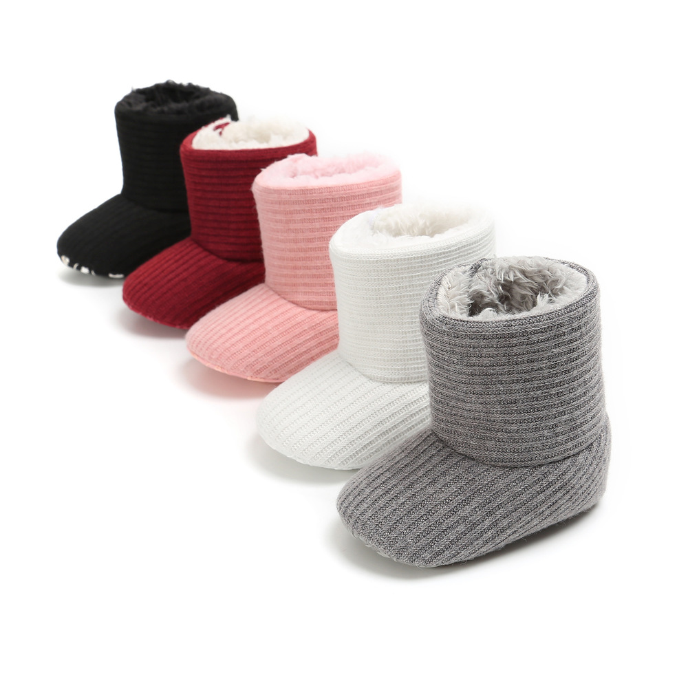 Newborn Baby Booties Lovely Warm Fluff Boy Girl Winter Toddler First Walkers Cotton Comfort Soft Anti-slip Infant Crib Shoes