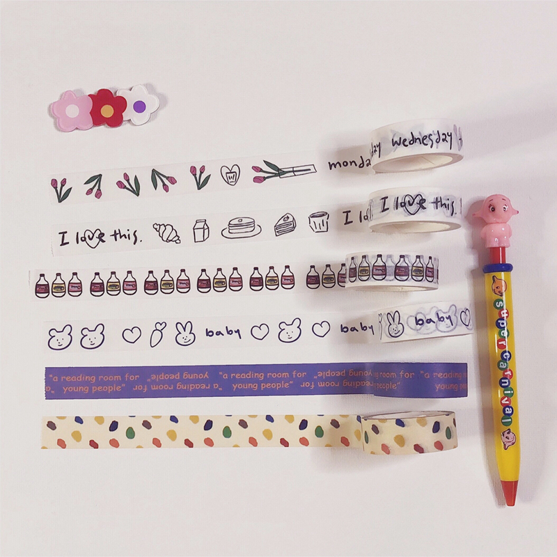 Ins Sale Simple Cute Washi Tape Japan Handbook Diy Decorative Masking Tapes Sealing Stickers Kawaii Cartoon Student Stationery