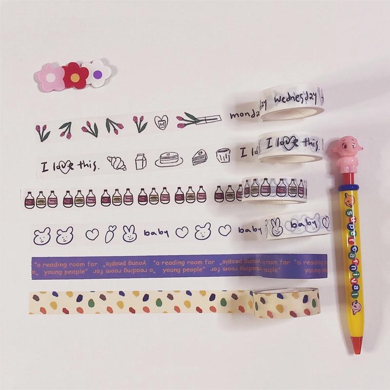 Ins Sale Simple Cute Washi Tape Japan Handbook Diy Decorative Masking Tapes Sealing Stickers Kawaii Cartoon Student Stationery