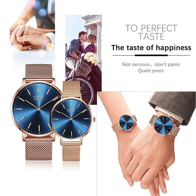 2020 пара часов для влюбленных lige Топ бренд Роскошные Кварцевые