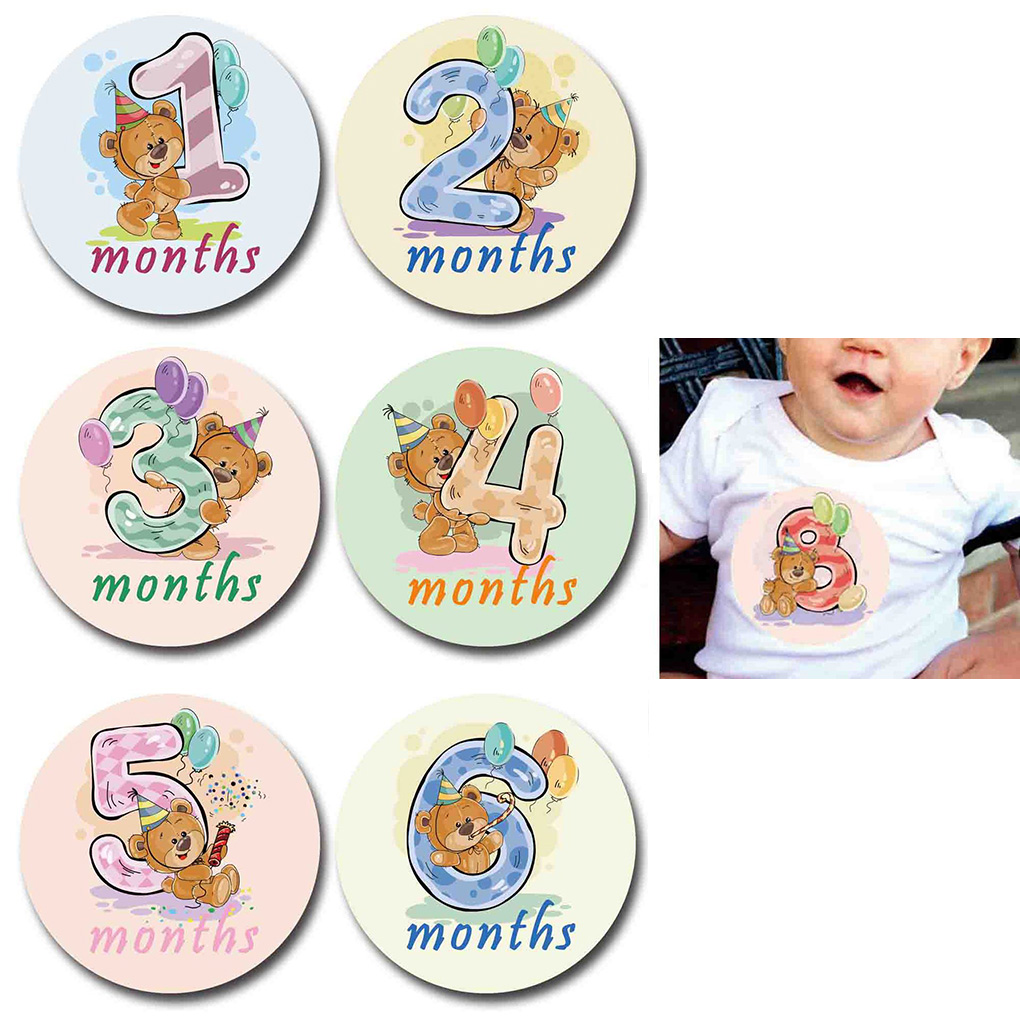 12pcs Baby Monthly Stickers Milestone Memorial Cartoon Sticker Photograph Props Women Pregnant Month Decals Photo Props