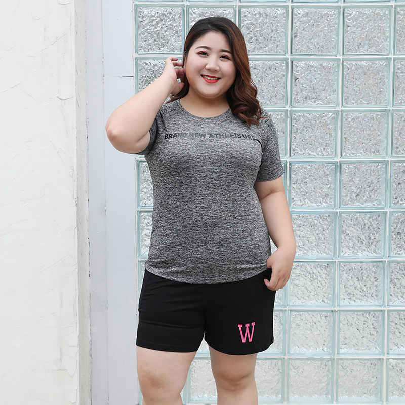 2019 Summer New Style Sports Leisure Suit 200 Of Fat Mm Plus-sized Two-Piece Set Short Sleeve Shorts Sportswear