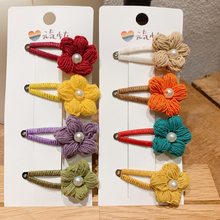 5pcs/lot Autumn and Winter Cute Pearl Yarn flower BB Clip Hairpin for Hair Women Manual Hairgrips side clip Accessories
