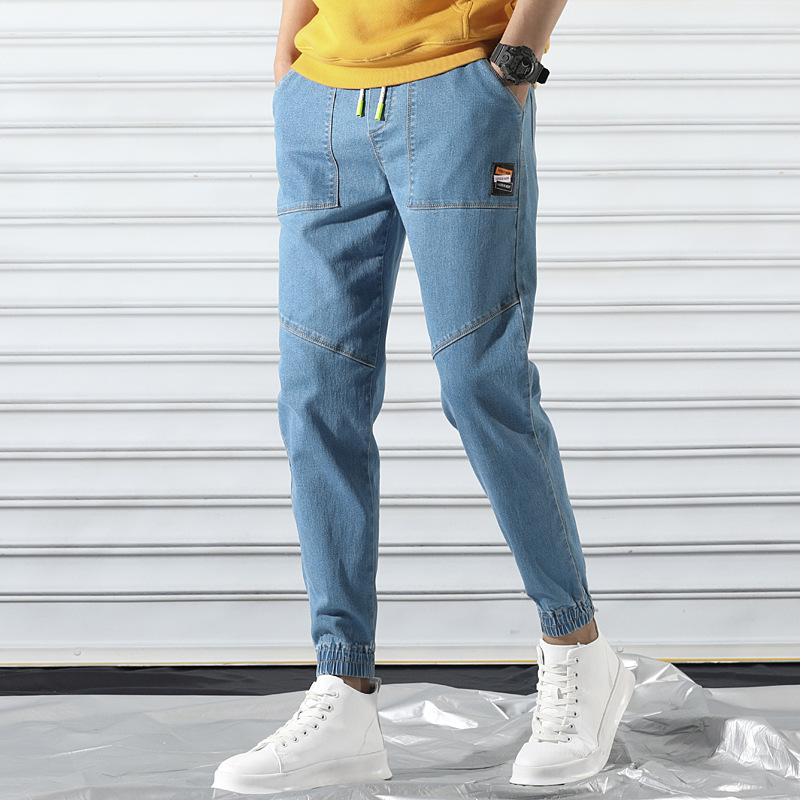 Japanese-style Hip Hop 2019 Summer New Style Elasticity Men's Trousers Men Elastic Waist Harem Pants Korean-style Jeans Capri Pa